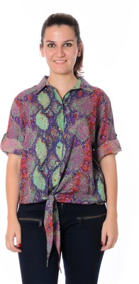 Urban Religion Women's Animal Print Casual Multicolor Shirt