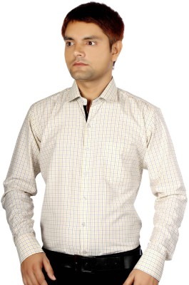 AADUKI Men's Checkered Formal White Shirt