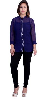 Indicot Women's Solid Casual, Party, Formal Dark Blue Shirt