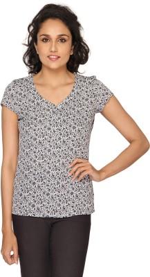 Azores Women's Floral Print Casual Black, White Shirt