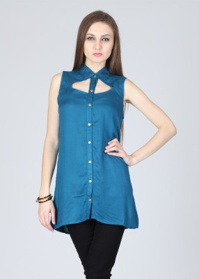 Remanika Women,s Solid Party Blue Shirt