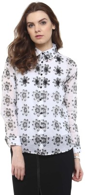The Office Walk Women's Floral Print Formal White Shirt