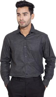 Deeksha Men's Solid Formal Black Shirt