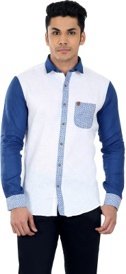 Matchles Men,s Printed Casual Linen White, Blue Shirt