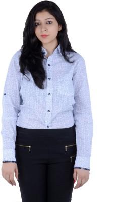 S9 Women's Self Design, Printed Casual White, Light Blue, Black Shirt