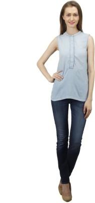 Splendent Women's Solid Casual Blue Shirt