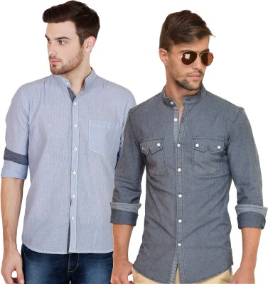 Chalk Factory Men's Solid, Striped Casual Denim Grey, Blue Shirt