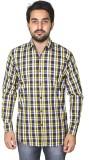Mangue Men's Checkered Casual Yellow Shi...