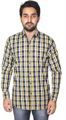 Mangue Men's Checkered Casual Yellow Shirt