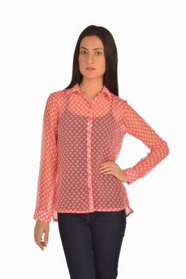 Miss Rich Women's Polka Print Casual Pink Shirt