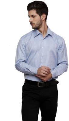 Thousand Shades Men's Striped Formal Blue Shirt