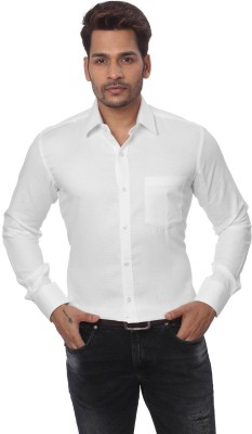 GlobalRang Men's Solid Casual White Shirt