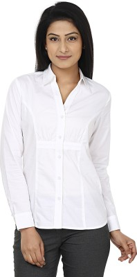 Wills Lifestyle Women's Solid Formal White Shirt