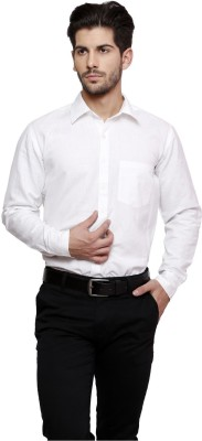 Thousand Shades Men's Solid Formal White Shirt