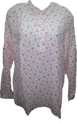 Deeksha Women's Floral Print Formal White Shirt
