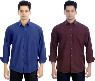 Atmosphere Men's Solid Formal Blue, Brown Shirt