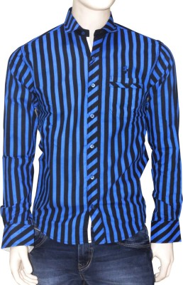 Exin fashion Men's Striped Casual Blue, Black Shirt
