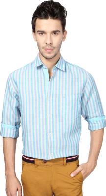Peter England Men's Striped Casual Blue Shirt