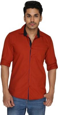 GoPlay Men's Solid Casual Orange Shirt
