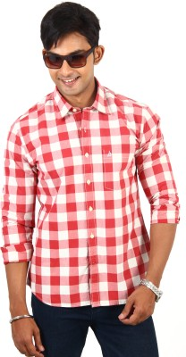 Barrier Reef Men's Checkered Casual Red, White Shirt