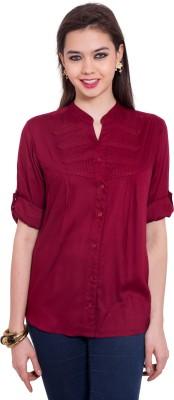 Tuntuk Women's Solid Casual Maroon Shirt