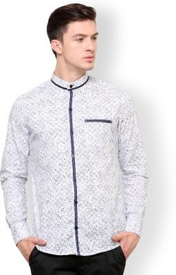 Blackbuk India Men's Printed Casual White, Blue Shirt