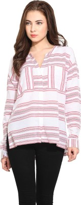 Free & Young Women's Striped Casual White, Red Shirt