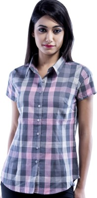 Peppermint Blues Women's Checkered Casual Multicolor Shirt