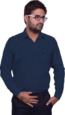 United Polo Hills Men's Solid Casual Linen Dark Blue Shirt