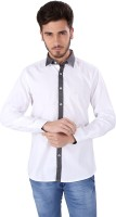 Red Chillies Formal Shirts (Men's) - Red Chillies Men's Solid Formal Blue, White Shirt
