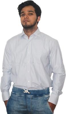 ZHENTZ Men's Striped Formal Grey Shirt