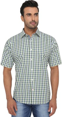 Greenfibre Men's Checkered Casual Green Shirt