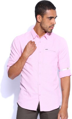 POE Men's Solid Casual Pink Shirt