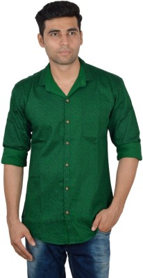 Studio Nexx Men's Printed Casual Green Shirt