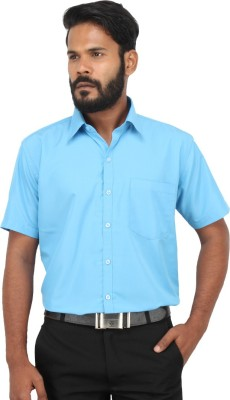 Grhk Men's Solid Casual Blue Shirt