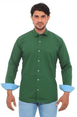Mabho Men's Solid Casual Green Shirt