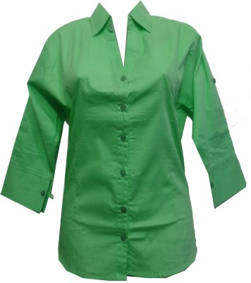 fashion point Women's Solid Formal Green Shirt