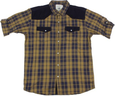 Gini & Jony Boy's Checkered Casual Brown Shirt