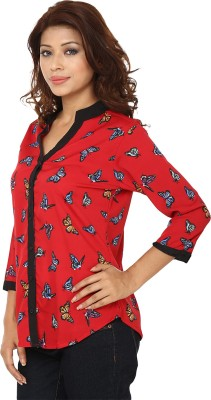 Lambency Women,s Printed Casual Red, Multicolor Shirt