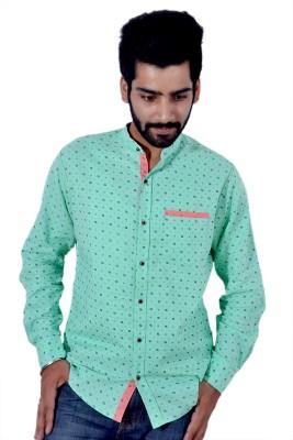 Tenor Men's Printed Casual Green Shirt