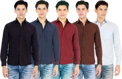 Atmosphere Men's Solid Formal Black, Blue, Maroon, Brown, Light Blue Shirt