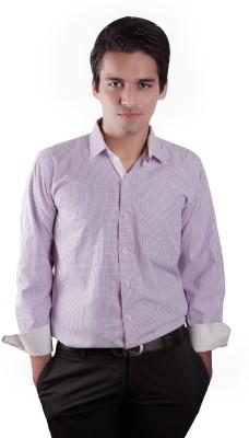 Elle Et Lui Men's Checkered Formal Purple Shirt