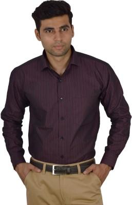 Studio Nexx Men's Striped Formal Maroon Shirt