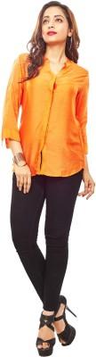 Reinvent Women's Self Design Casual Orange Shirt