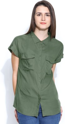 Silly People Women's Solid Casual Green Shirt