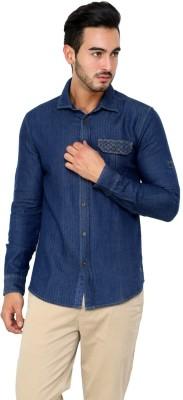 CHRISTIAN FABRE Men's Solid Casual Linen Blue Shirt