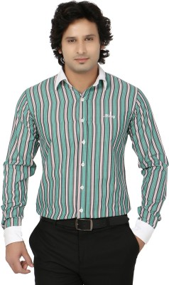 Blimey Men's Striped Formal Green, Black, White Shirt