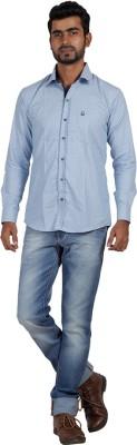 Sealion Men's Polka Print Casual Blue Shirt