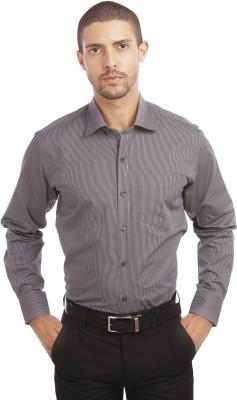 Leo Men's Striped Formal Grey Shirt