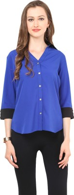Stilestreet Women's Solid Casual Blue Shirt